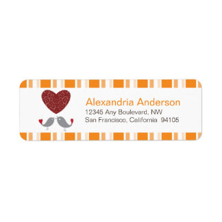Love Birds Return Address Labels (orange)