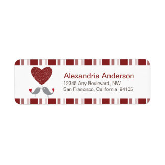 Love Birds Return Address Labels (red)