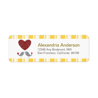 Love Birds Return Address Labels (yellow)
