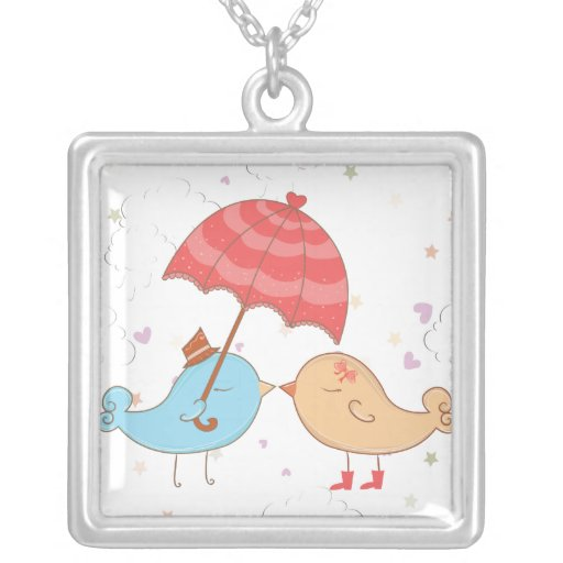 Love Birds Romance Gifts Silver Plated Necklace