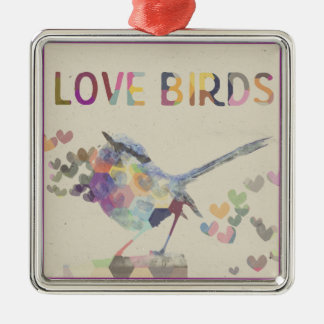 Love Birds Romantic Bird with Hearts Purple Metal Ornament