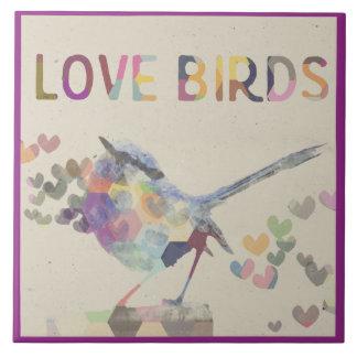 Love Birds Romantic Bird with Hearts Purple Tile