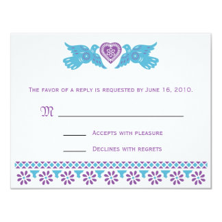 Love Birds RSVP Card - purple and blue Custom Invites
