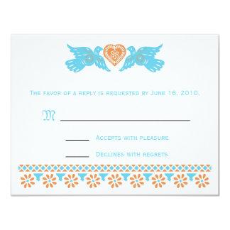 "Love Birds RSVP Card - teal and orange 4.25"" X 5.5"" Invitation Card"