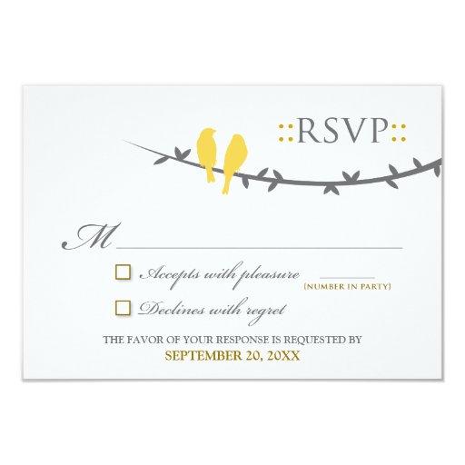 "Love Birds RSVP Card (yellow & white) 3.5"" X 5"" Invitation Card"