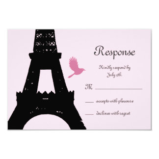 Love Birds RSVP (pink) 3.5x5 Paper Invitation Card