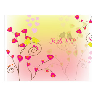 Love birds RSVP postcards, wedding reply postcards