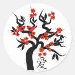 Love Birds Sakura cherry tree Chinese love symbol Classic Round Sticker
