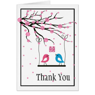 Love Birds Sakura Double Happiness Wedding Card