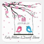 Love Birds Sakura Double Happiness Wedding Sticker