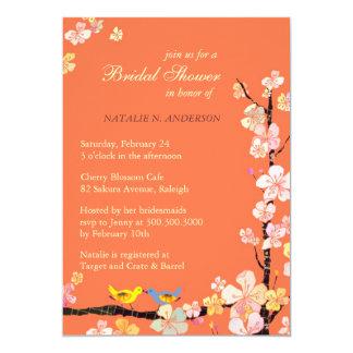 Love Birds + Sakura Orange Bridal Shower Invites