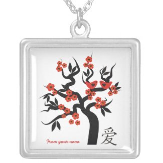 Love birds Sakura Tree Chinese Love silver pendant necklace