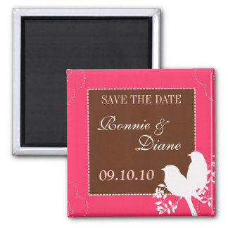 Love Birds Save the Date 2 Inch Square Magnet