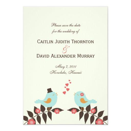 "Love Birds Save The Date Card 5"" X 7"" Invitation Card"