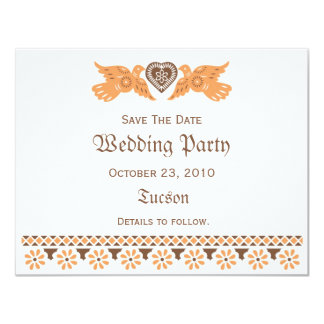 Love Birds Save The Date Card - Persimmon/Brown