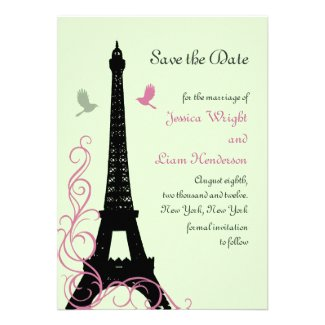 Love Birds Save the Date (green) Personalized Invites