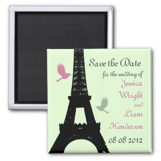 Love Birds Save the Date (green) Refrigerator Magnet