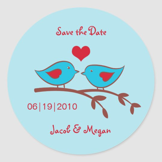 Love Birds Save the Date Label