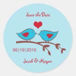 Love Birds Save the Date Label Classic Round Sticker