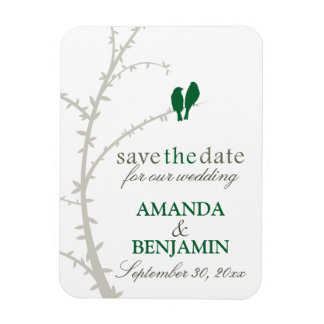 Love Birds Save the Date Magnet (green)