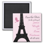 Love Birds Save the Date (pink) 2 Inch Square Magnet