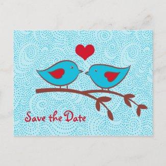 Love Birds Save the Date Postcard postcard