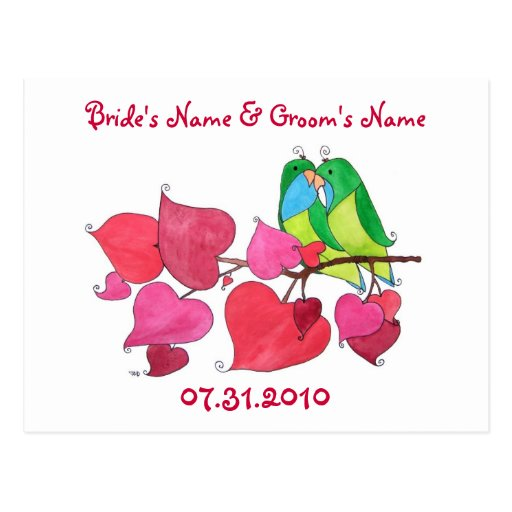 Love Birds, Save the Date Postcard