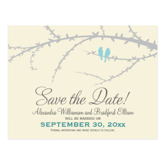Love Birds Save the Date Postcard (baby blue)