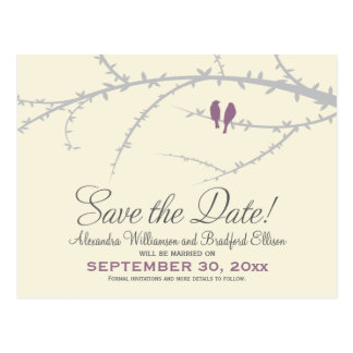 Love Birds Save the Date Postcard (lilac)