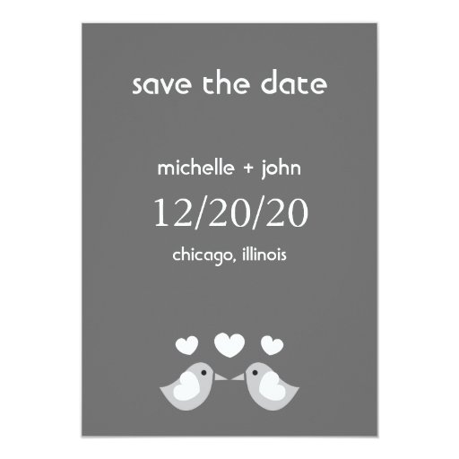 Love Birds Save The Date Version A (Dark Gray) Card