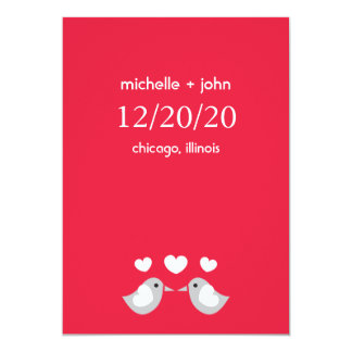 Love Birds Save The Date Version A (Red) 5x7 Paper Invitation Card