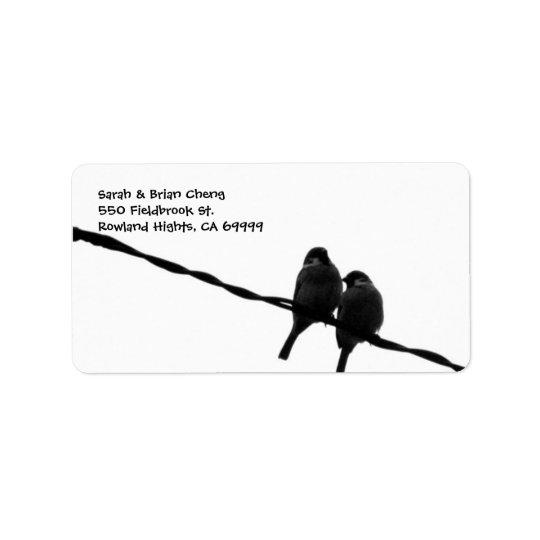 love birds silhouette wedding address lable label