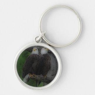'Love Birds' Silver-Colored Round Keychain