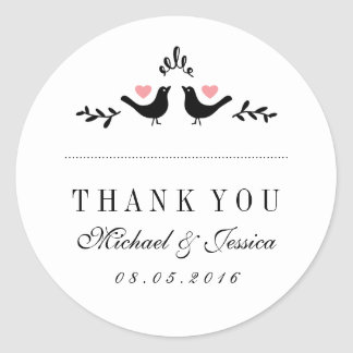 Love Birds Small Hearts Wedding Thank You Sticker