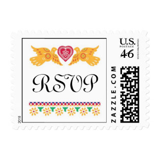 Love Birds Small Wedding Postage - Red Turquoise