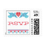 Love Birds Small Wedding Postage - Red/Turquoise