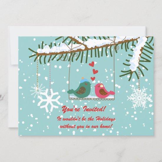 Love Birds Snow Winter Scene Holiday Party Invitation