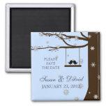 Love Birds Snowflakes Oak Tree Wedding Favor Refrigerator Magnet