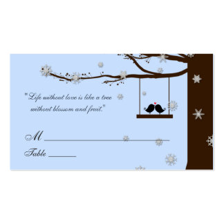 Love Birds Snowflakes Oak Tree Wedding Place Cards Double-Sided Standard Business Cards (Pack Of 100)