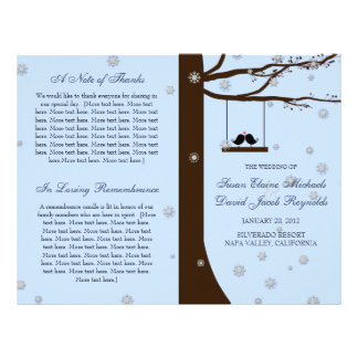 Love Birds Snowflakes Oak Tree Wedding Program
