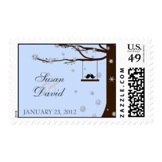 Love Birds Snowflakes Oak Tree Winter Stamp