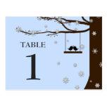 Love Birds Snowflakes Oak Tree Winter Table Number Postcards