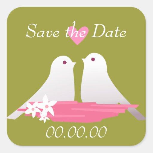 Love Birds Square Sticker