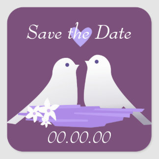 Love Birds Square Stickers