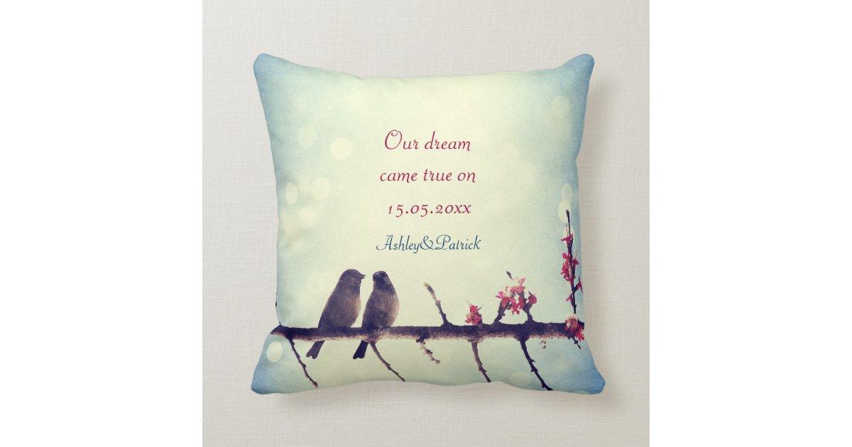 Love Birds Story 2 Wedding Favor Throw Pillow Zazzle