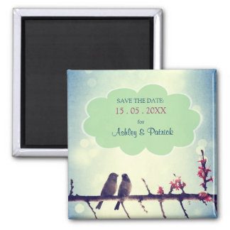 Love Birds Story Save the Date 2 Inch Square Magnet