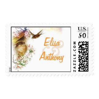love birds swallows wedding stamp
