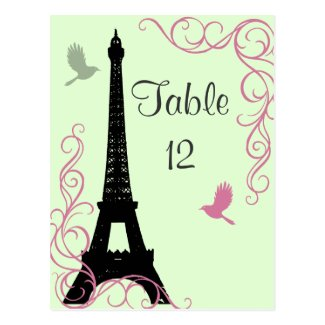 Love Birds Table Number (green) Post Card