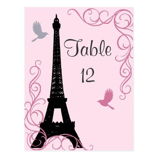 Love Birds Table Number (pink) Postcard