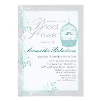 Love Birds Teal Bridal Shower Invitations